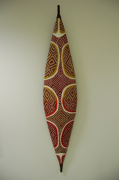 Image of the Kurnai Shield, created in 2002 by artist Eileen Harrison, a Kurnai woman from the Gippsland Region.