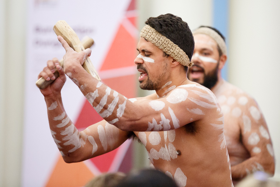 Image of the Fighting Gunditjmara performing at the launch of phase four of the Aboriginal Justice Agreeement