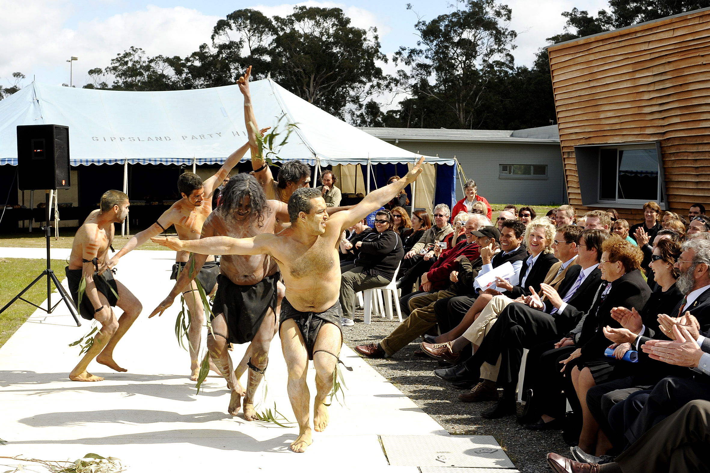 Image of an Aboriginal cultural dance performed during the opening.